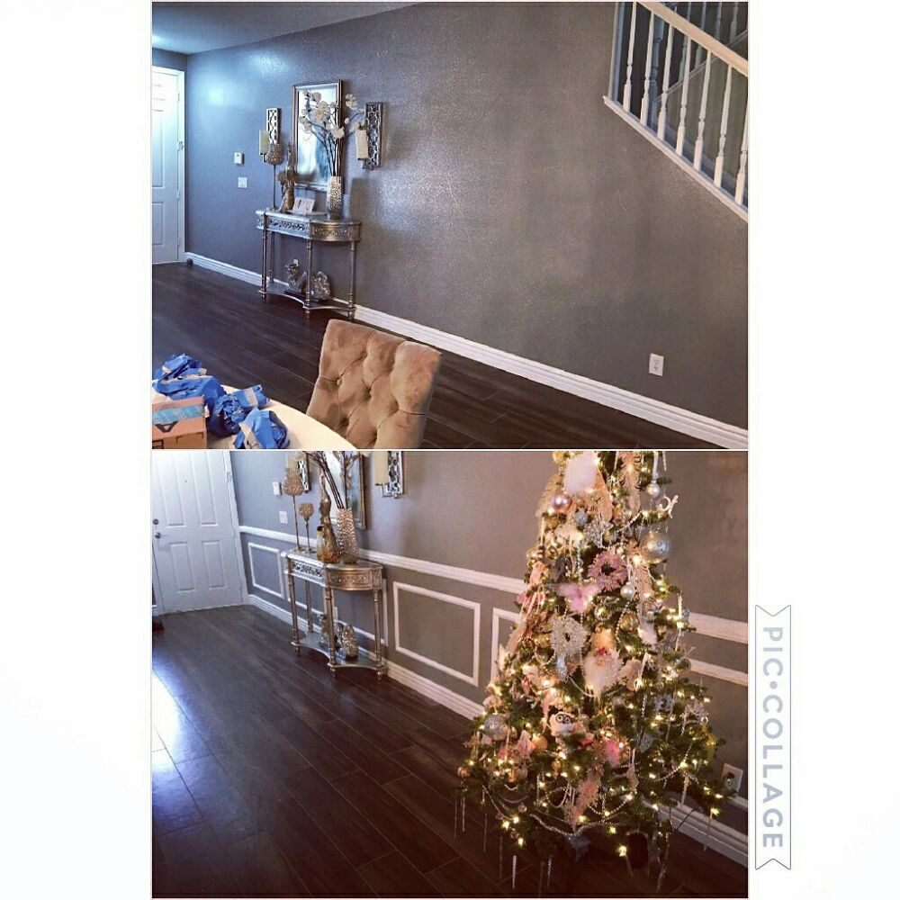 Your Before And After! Chair Rail And Picture Frames Makes