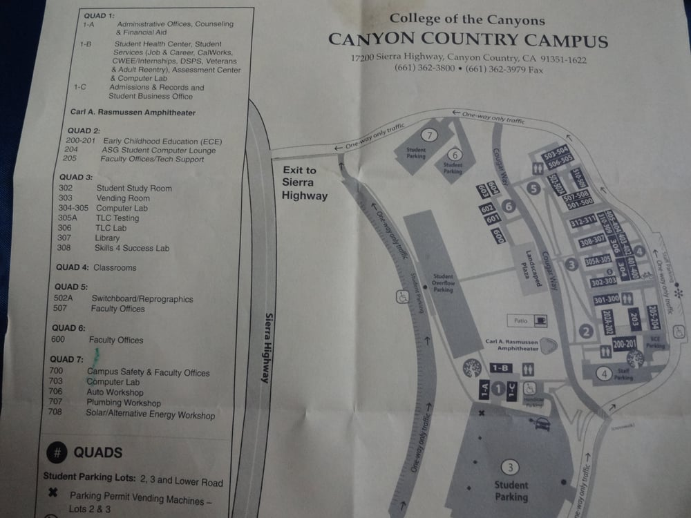 College Of The Canyons Map Canyon Country Campus Map Part 1.   Yelp