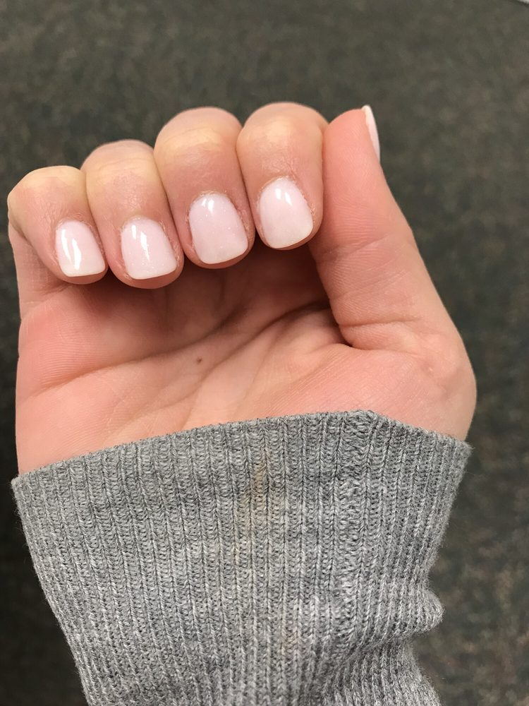 SNS manicure. Got a sheer sparkle and manicurist did layer of plain ...
