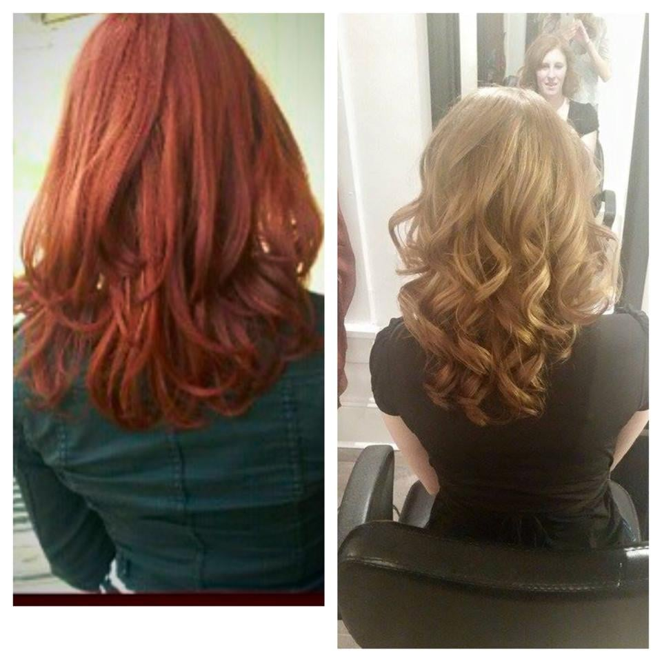 From An All Over Brown Red To A Now Caramel Blonde With Blonde