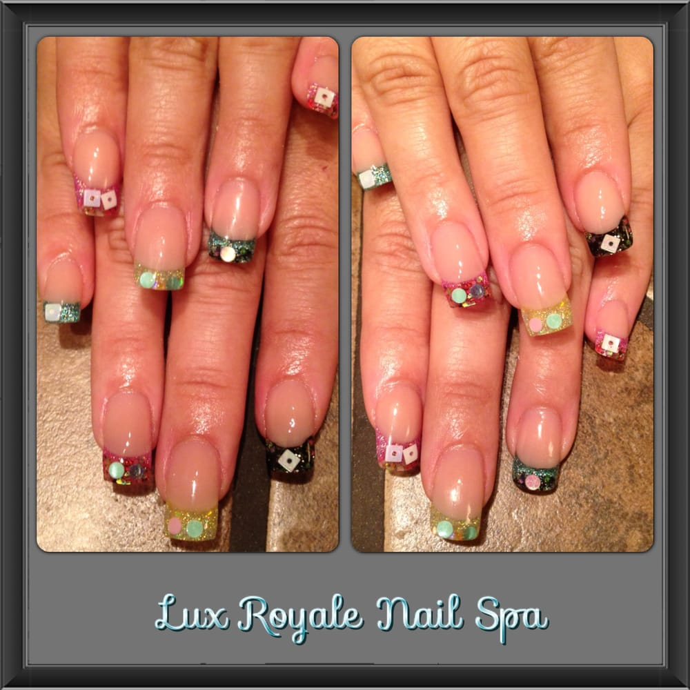 Acrylic Glitter nails with encapsulated nail art. - Yelp