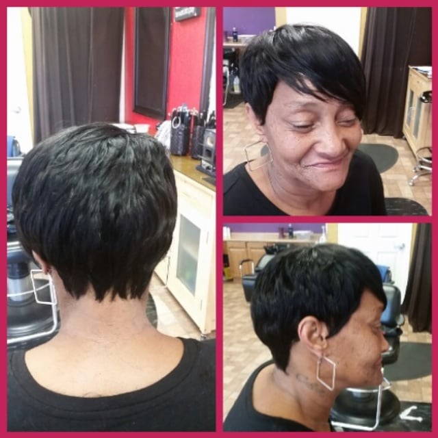 Sewn In Weave Short Hair Cut And Style Yelp