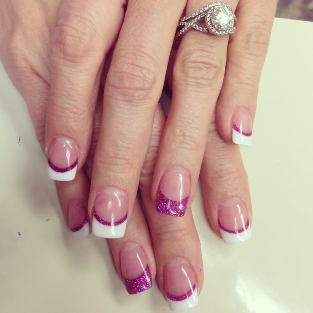 Fuschia accent on solar nails - Yelp