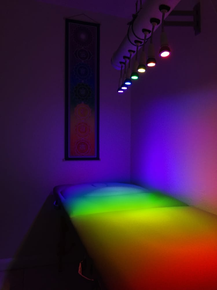 """My Light And Airy Living Room Transformation: """"Chakra Light Therapy""""! These Colored Lights"""