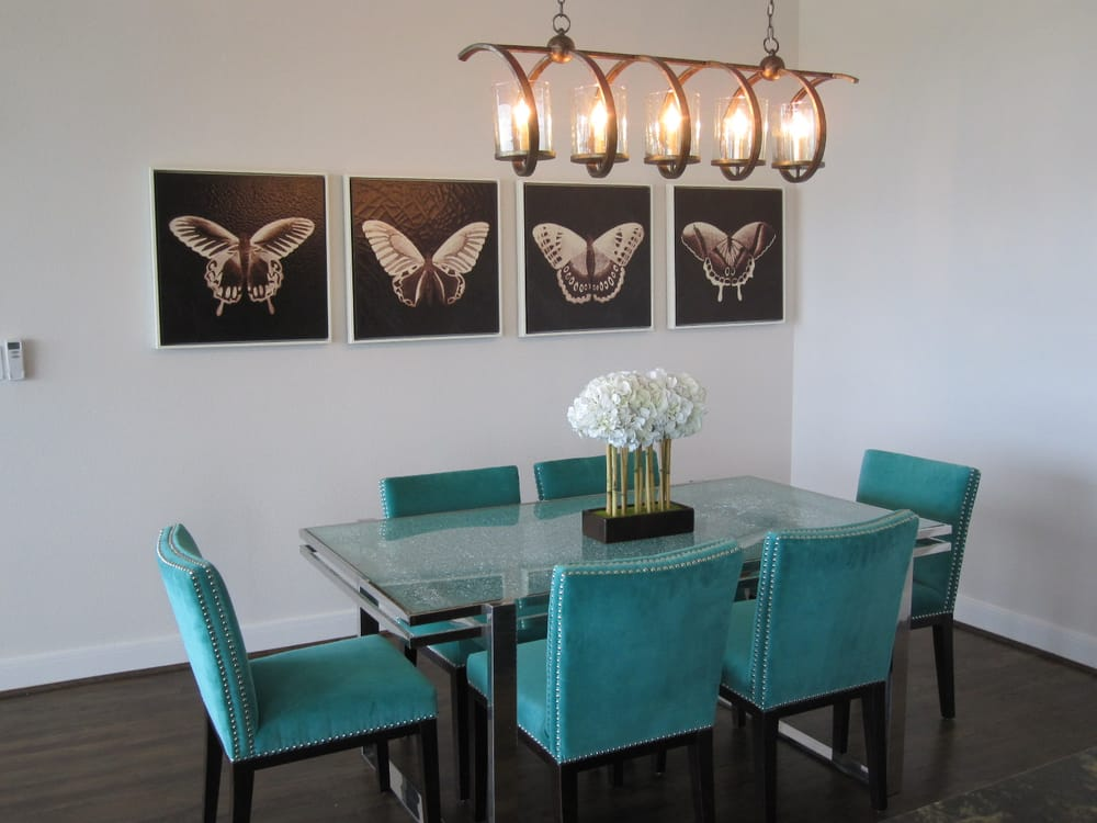 Small contemporary dining room with crackled glass top for Teal dining room table
