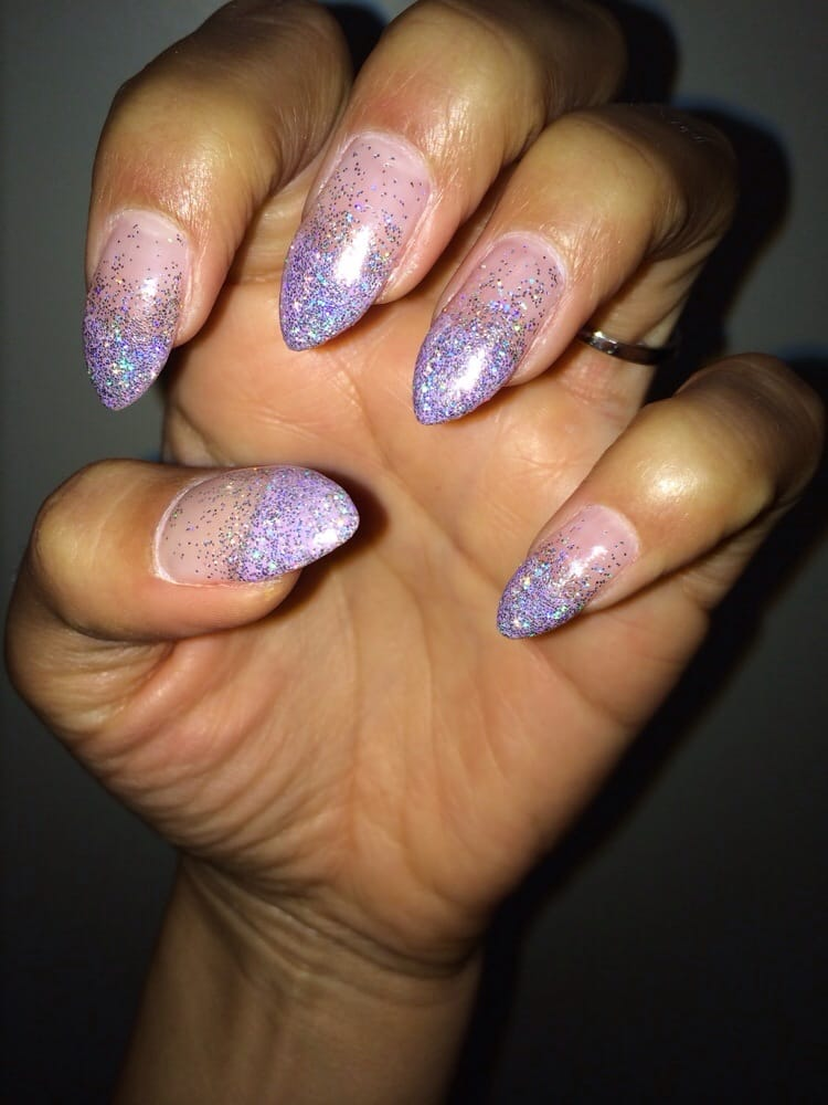 Full set acrylic stilleto nails with purple ombré tip and ombré ...