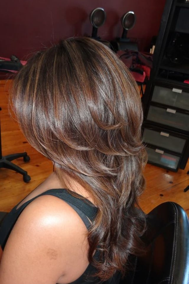 Dark chocolate hair with caramel highlights yelp photo of hair by cynthia encino ca united states dark chocolate hair pmusecretfo Images