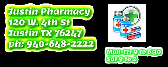 Justin Pharmacy: 120 W 4th St, Justin, TX