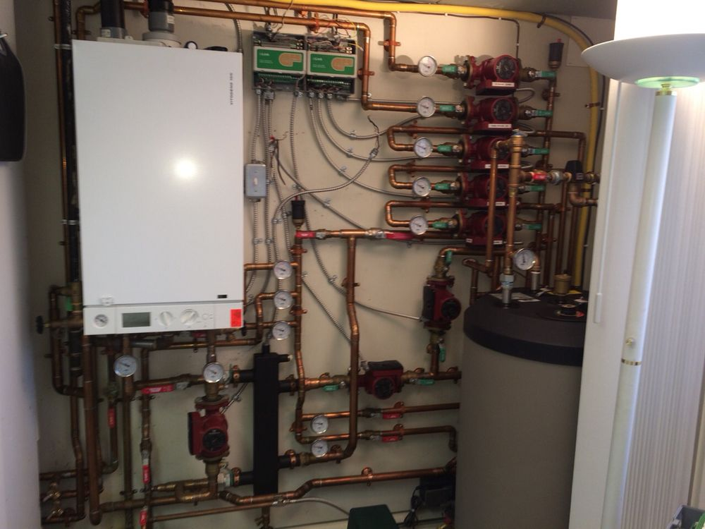 High efficiency boiler system install with multiple zones plus ...