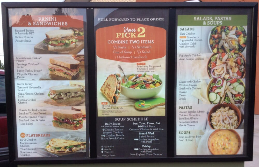 This is an image of Witty Panera Bread Printable Menu With Prices