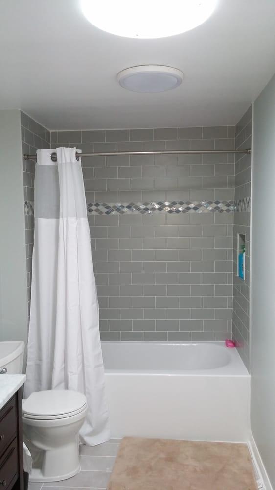 Schaumburg Bath Remodel Custom Subway Tile And Limestone