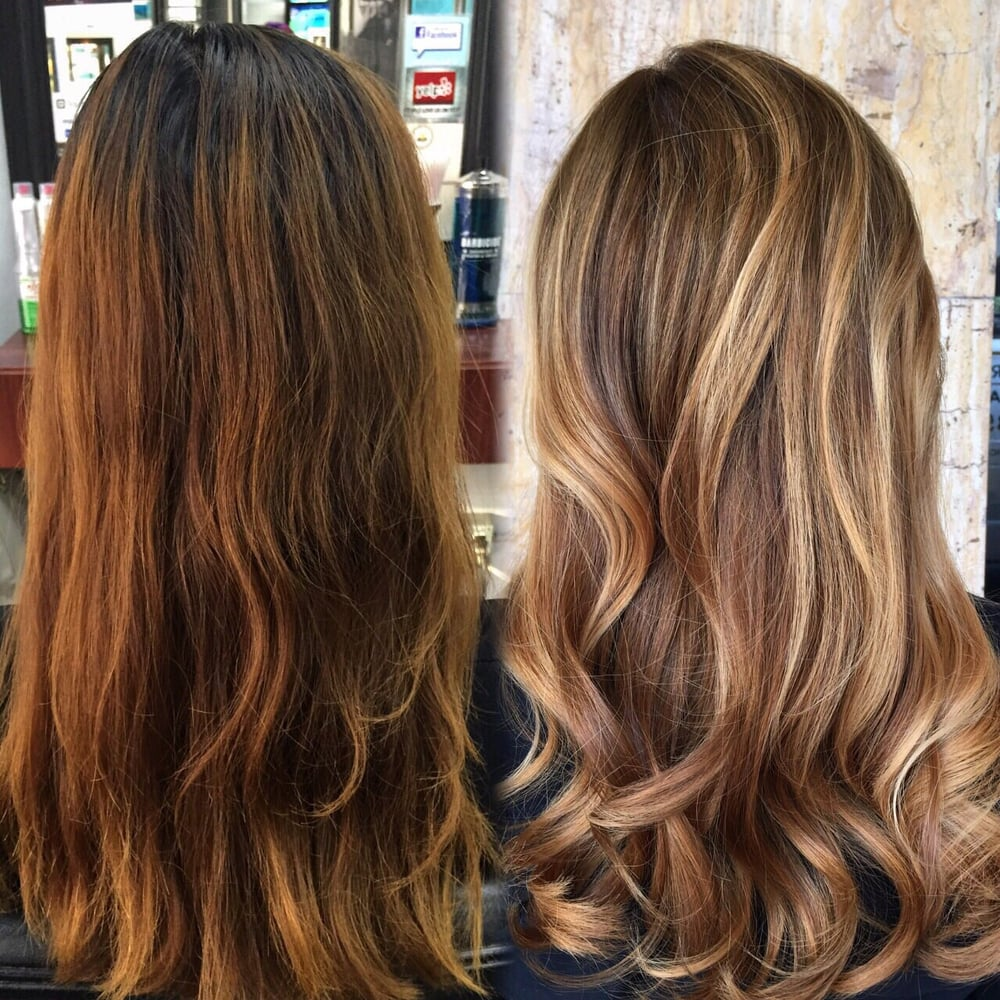 Before And After Of Color Correction Asian Hair Box Dyed To A