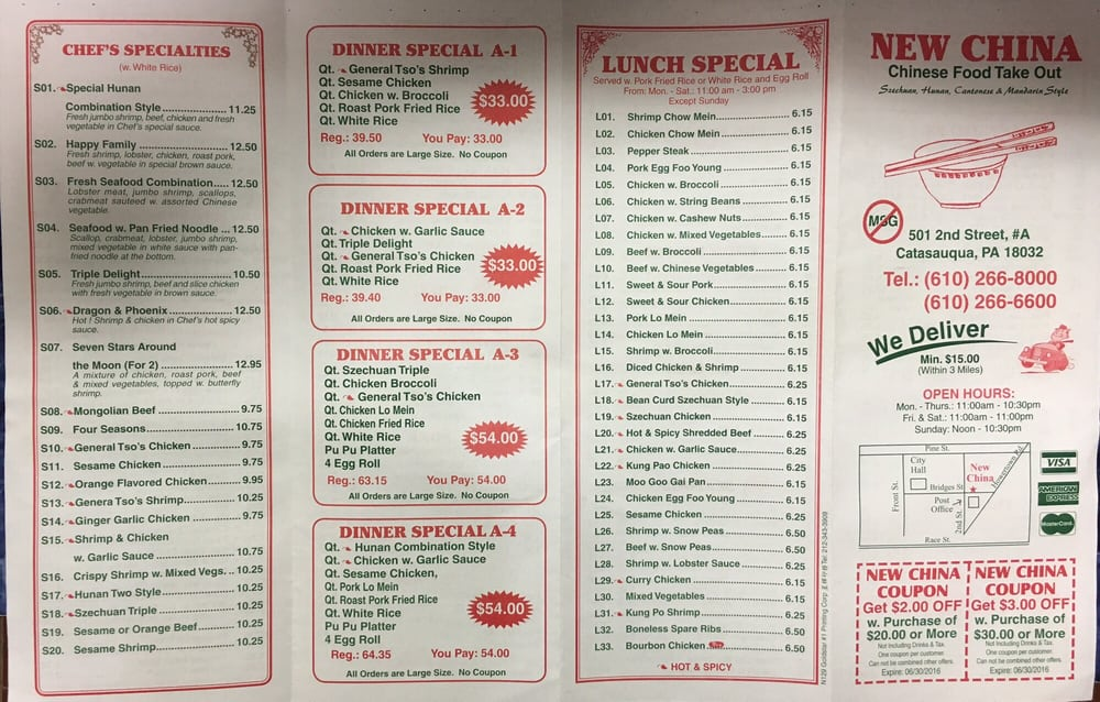 New china carry out order food online 13 reviews for Carryout menu