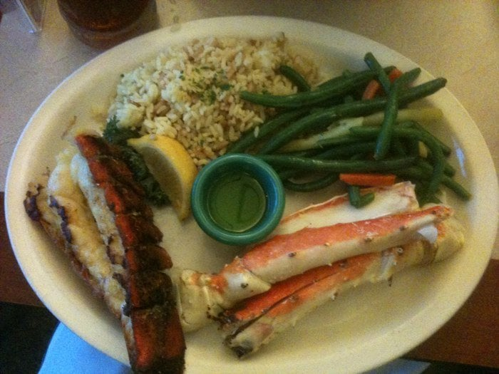 Petite lobster tail king crab legs rice pilaf and for Anthony s fish grotto san diego