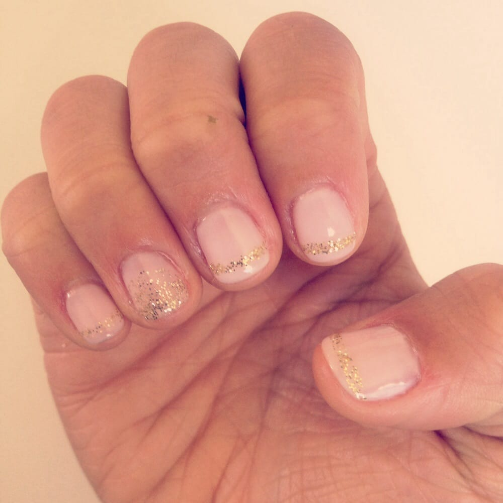 light pink and gold glitter shellac design -- perfectly done! - yelp