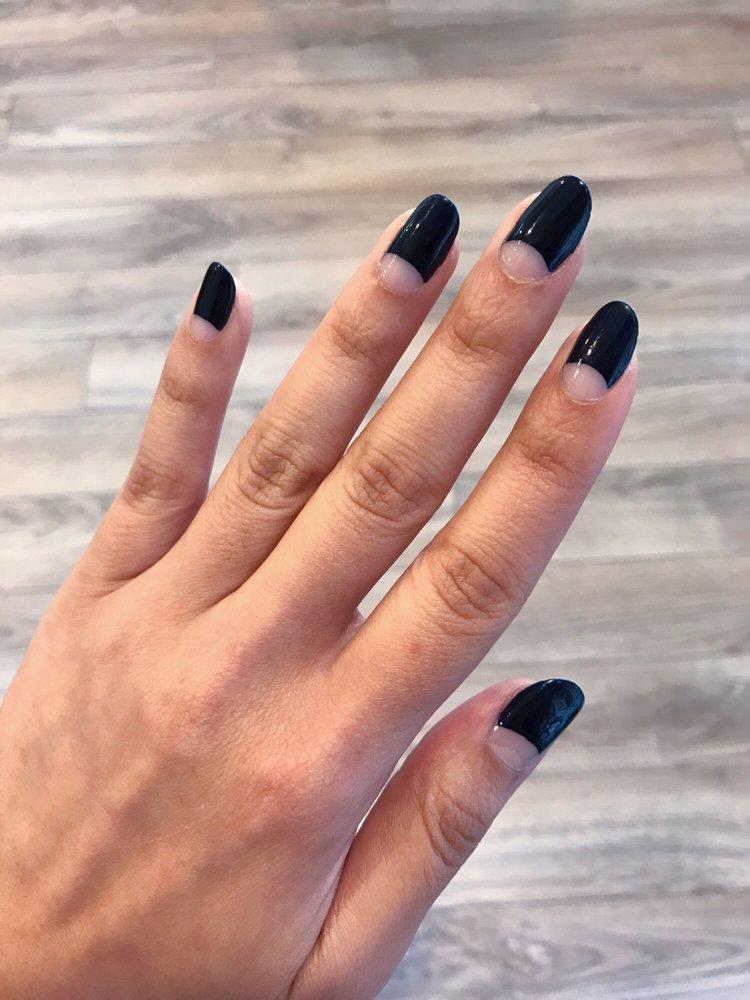 Half moon manicure with regular polish on natural nails. - Yelp