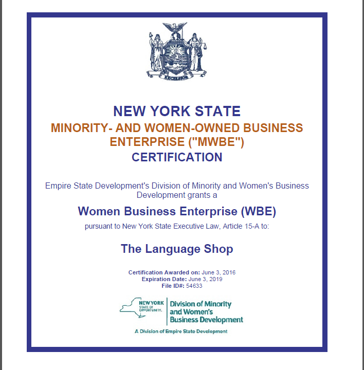 The Language Shop Is Mwbe Certified By New York State We Are 100