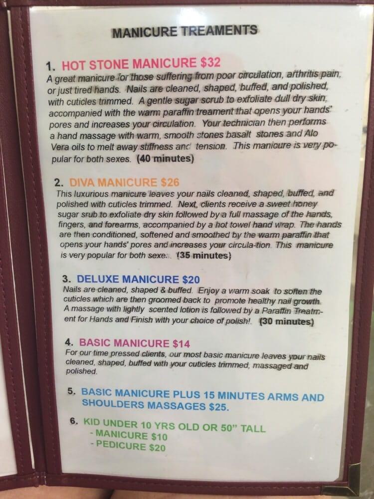 Manicure Menu Amp Prices Diva Nail Spa Yelp