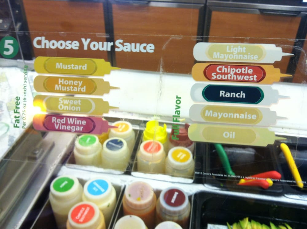 Subway Food List
