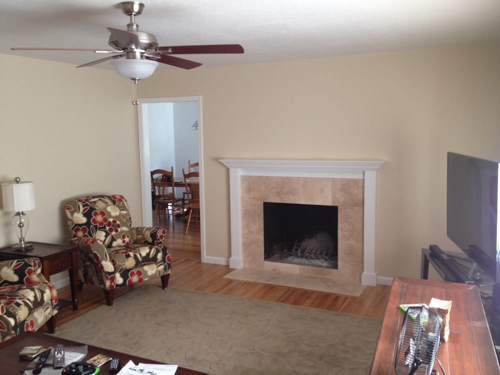 Custom fireplace surround and wood mantle, removed old paneling ...