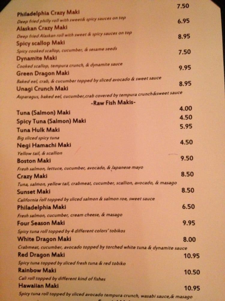 Sushi Restaurants Ya Schaumburg Menu
