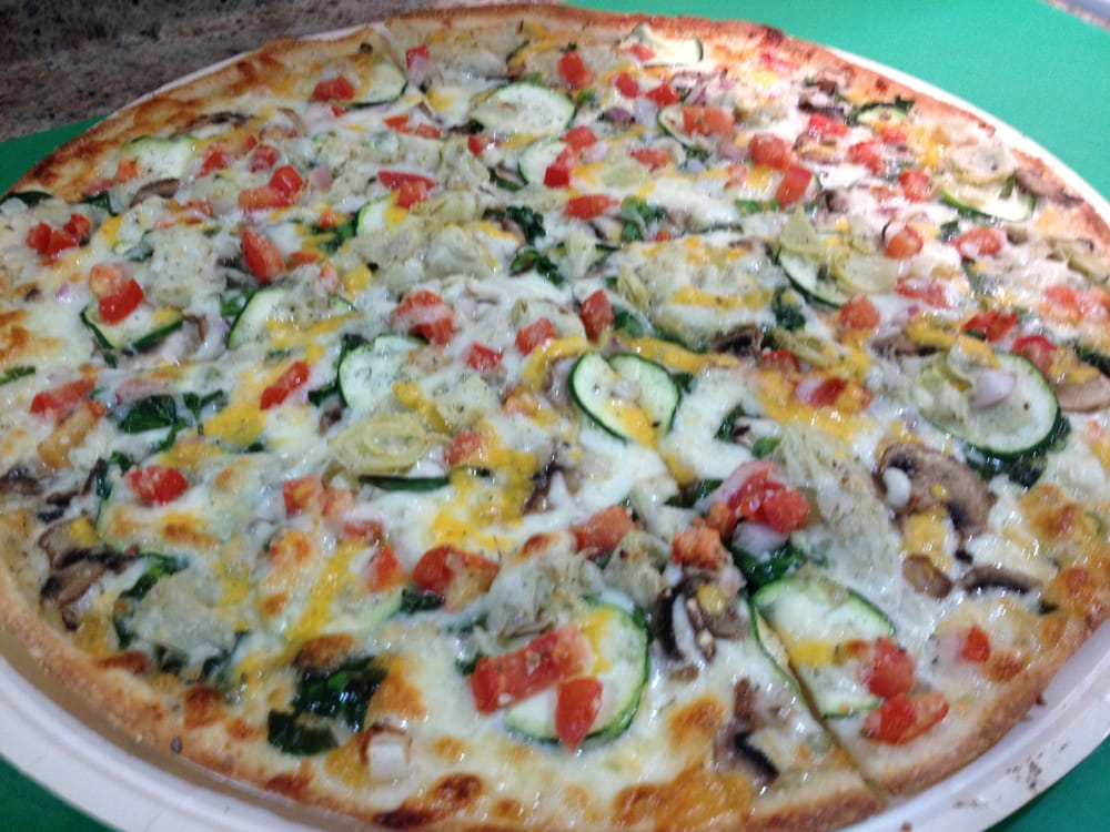 veggie gourmet with thin crust  hot out of my own oven  yelp