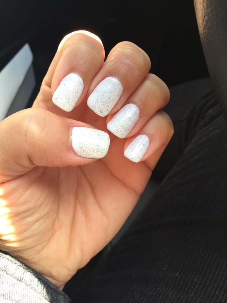 So happy with my white glitter gel manicure! - Yelp