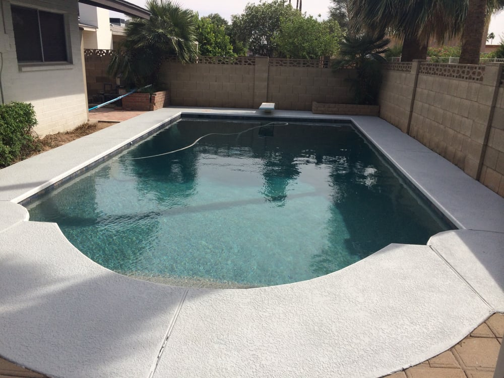 After the pool was finished pebble tec water line tile for Pool resurfacing phoenix az