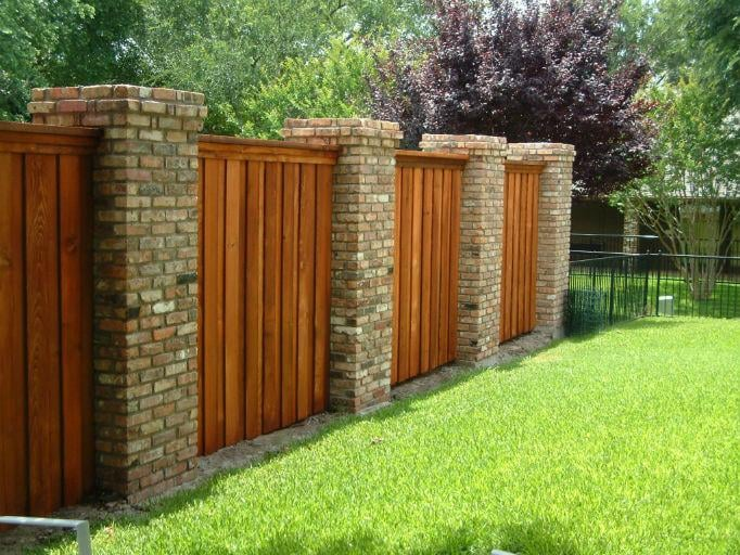 Residential Decorative Wood And Brick Fence Yelp