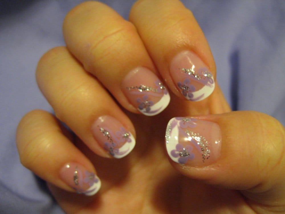 French manicure with purple flower and glitter nail art (right hand ...