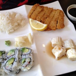 Sakura Japanese Cuisine - Astoria, NY, United States. Lunch Bento Box: Pork Katsu [includes soup & salad] ($9.5)