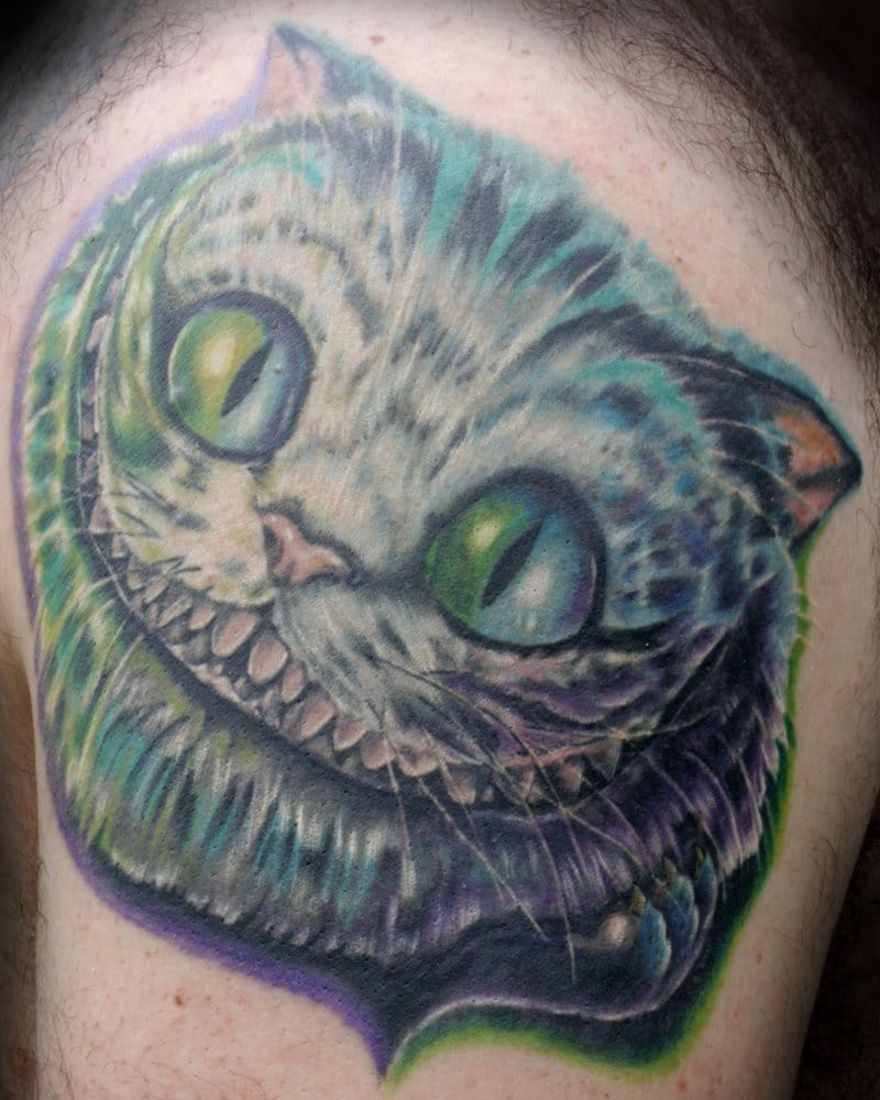 Custom Cheshire Cat Tattoo Alice In Wonderland Tattoo By Travis