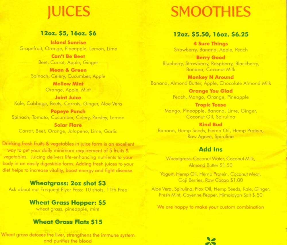 They Also Serve Loose Leaf White Green Black And Herbal Teas Coffee 98 Photos For Oasis Juice Bar Market