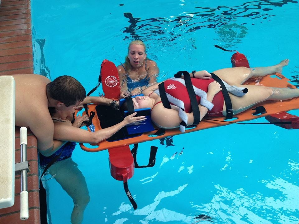 Lifeguard Candidates Learning To Backboard At The Colony Aquatic Park Yelp