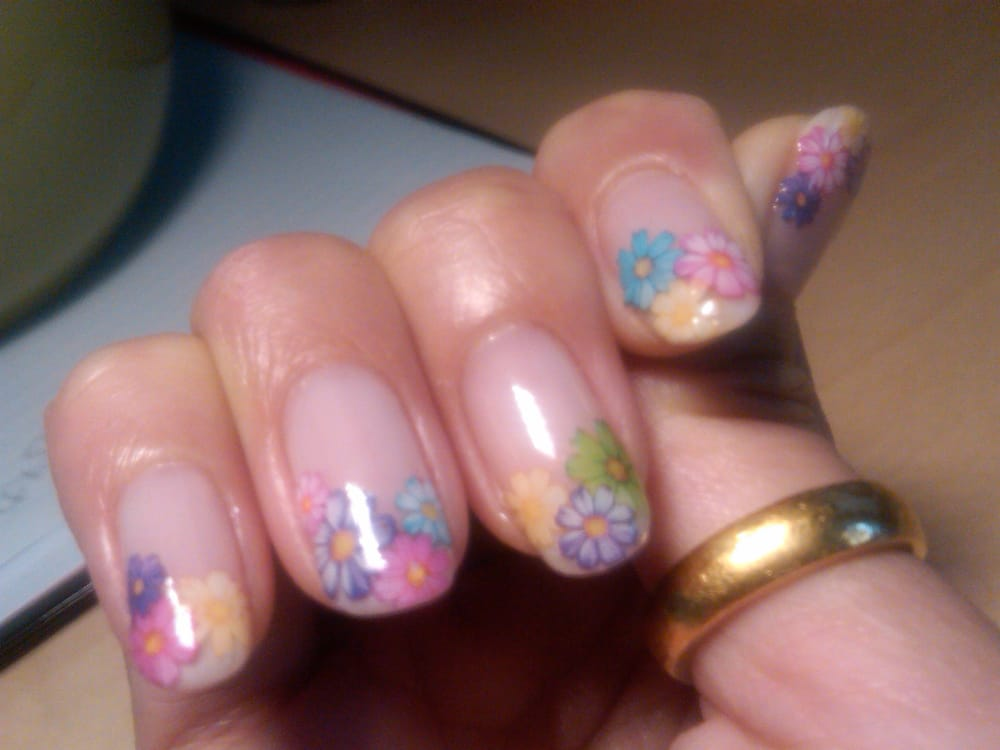 Flower sticker calgel nail art by nail artist reiho at photo of sakura nail spa new york ny united states flower prinsesfo Gallery