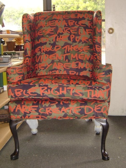Traditional Wing Chair Recovered In A Camoflage Graffiti Fabric Yelp