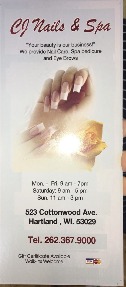 CJ Nails & Spa: 523 Cottonwood Ave, Hartland, WI