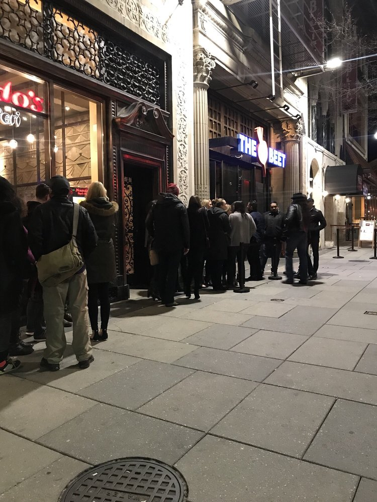 Photo of Eighteenth Street Lounge - Washington, DC, United States. This line around 11p in Sunday night (Presidents Day Weekend) we got there around 9p and it wasn't long before the place started filling up