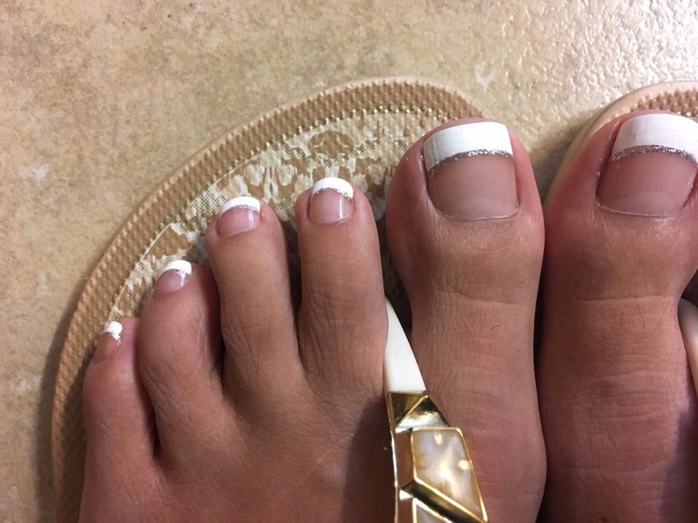 I got the $33 pedicure, French tip was $5, and glitter line was $3 ...