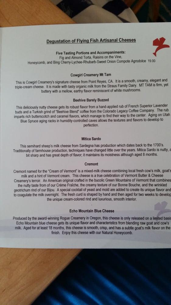 Artisanal cheese menu yelp for Flying fish menu