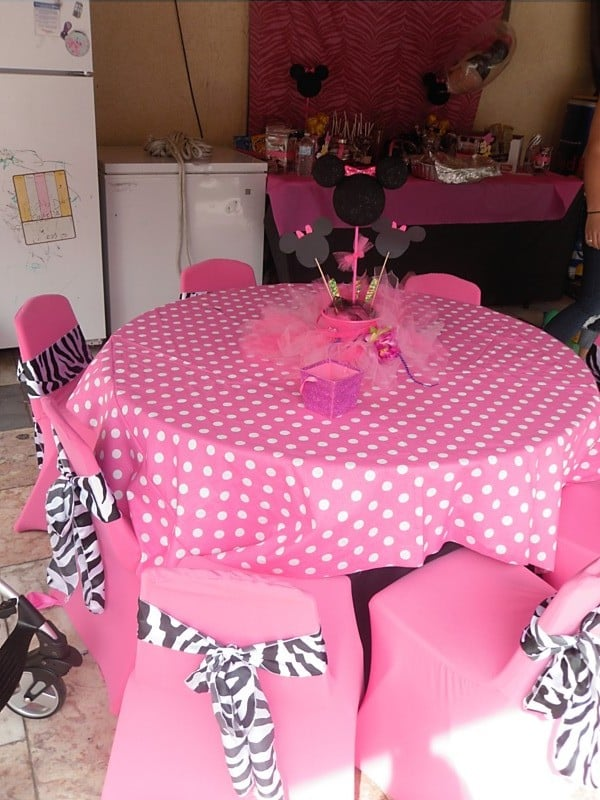 Minnie Mouse Theme Birthday Party Table Set Up Decoration