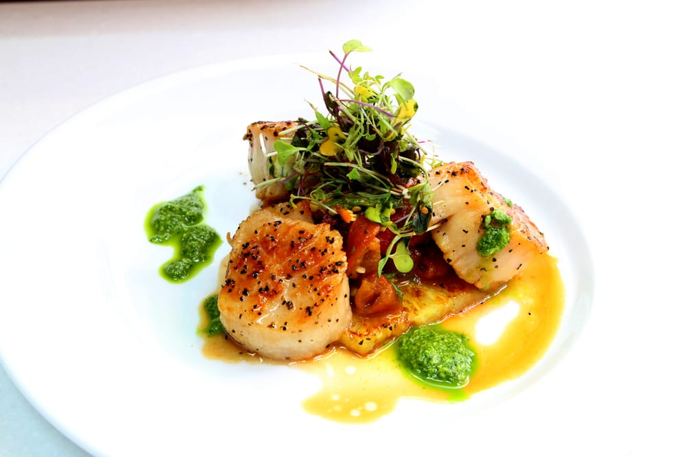 Seared scallops with cauliflower apple puree brussels sprouts bacon apple lemongrass - Malabar indian cuisine richmond va ...