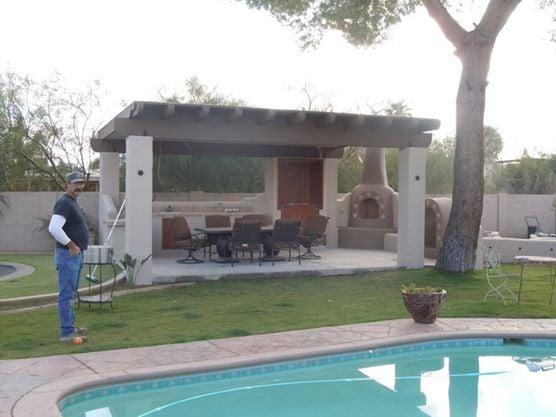 Custom Ramada w/ Fireplace, Tile Counter, and sink, w/ full ...
