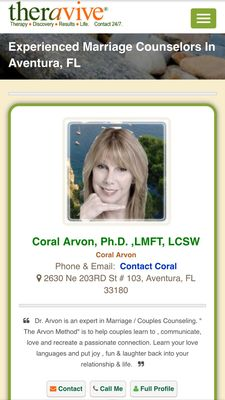 Arvon & Associates in Counseling 2630 NE 203rd St Ste 103 Miami, FL