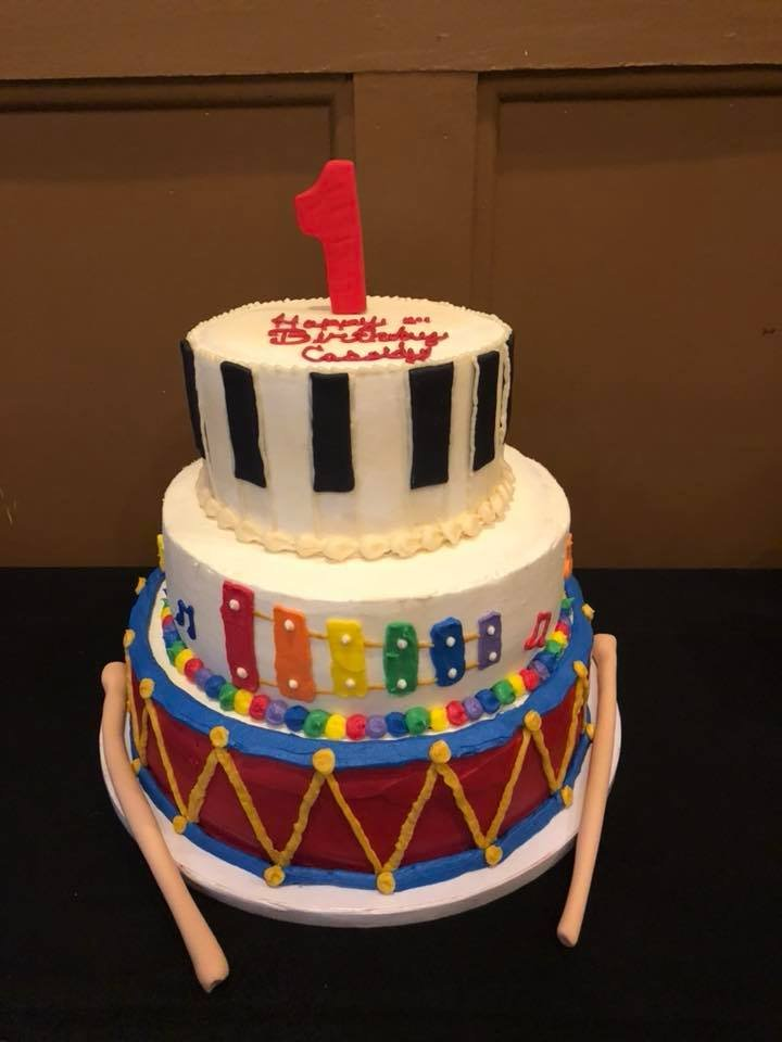 3 Tier Music Themed Cake For My Daughters First Birthday Party So