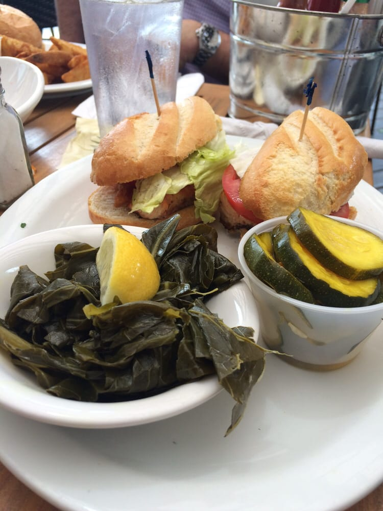 Grilled salmon blt with side of collard greens and pickled for Julington fish camp
