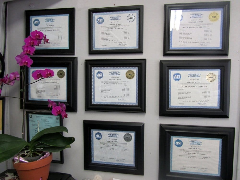 Our Ase Certification Wall Of Pride Dave Frost Is An Ase Master