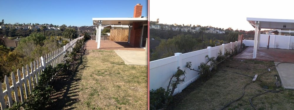 Before after vinyl privacy fencing yelp for Budget fence and patio