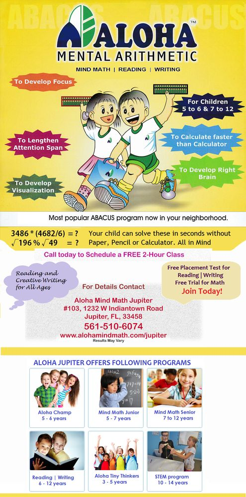 Aloha Mind Math Tutoring Centers 1232 W Indiantown Rd