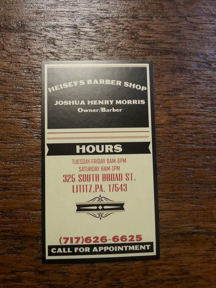 Heisey's Barber Shop: 325 S Broad St, Lititz, PA
